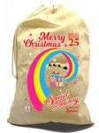 X-Large Cotton Drawcord LGBT Christmas Xmas Santa Sack Stocking Gift Bag With Pansexual Pride Flag